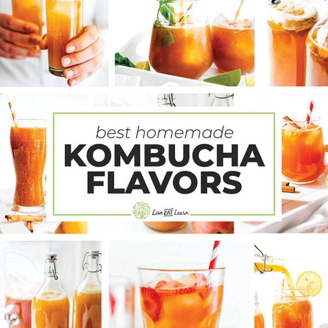 Collage of best homemade kombucha flavors