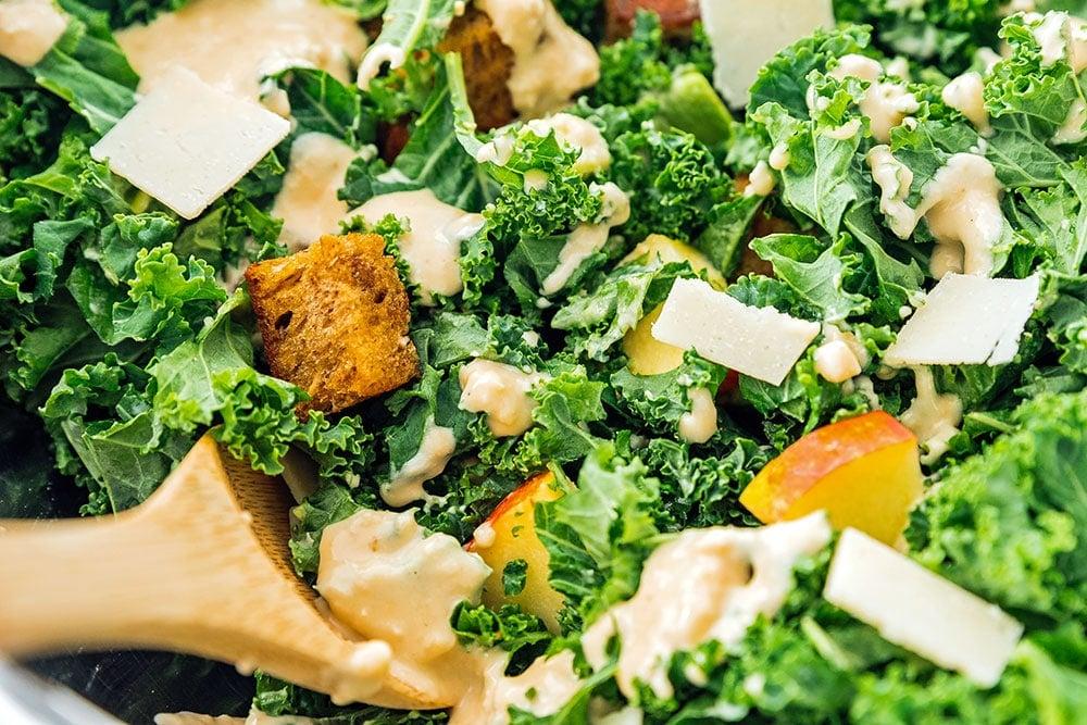 Close up photo of kale salad