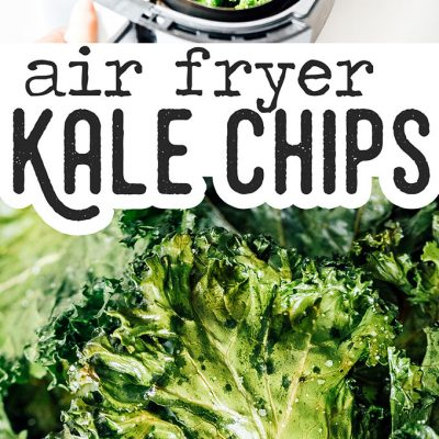 Kale chips in a bowl on a white background