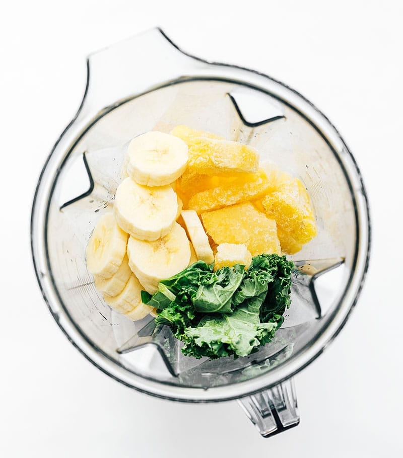 Ingredients for green smoothie in a blender