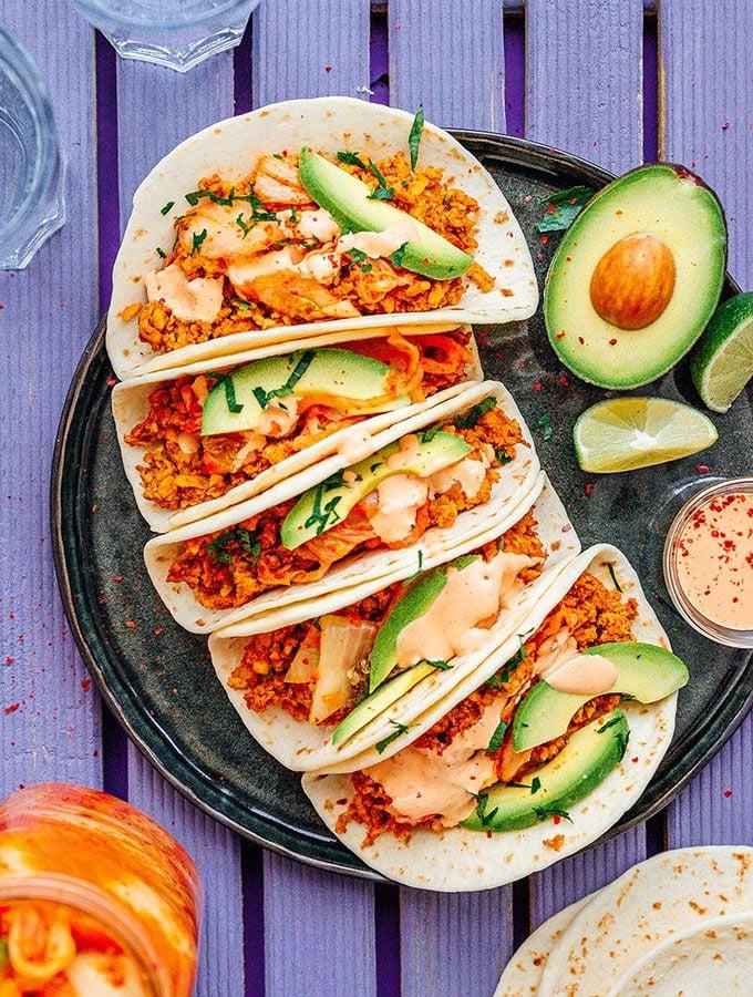 Kimchi Tempeh Tacos