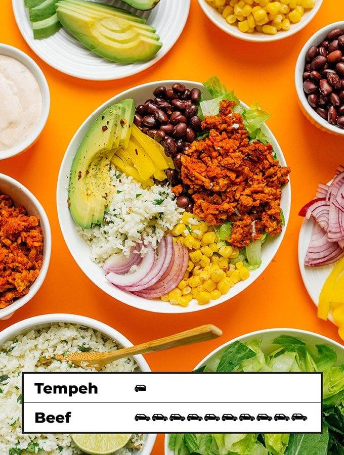 Carbon footprint of tempeh burrito bowls