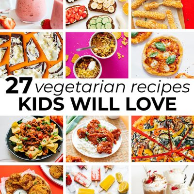 Collage of vegetarian recipes for kids