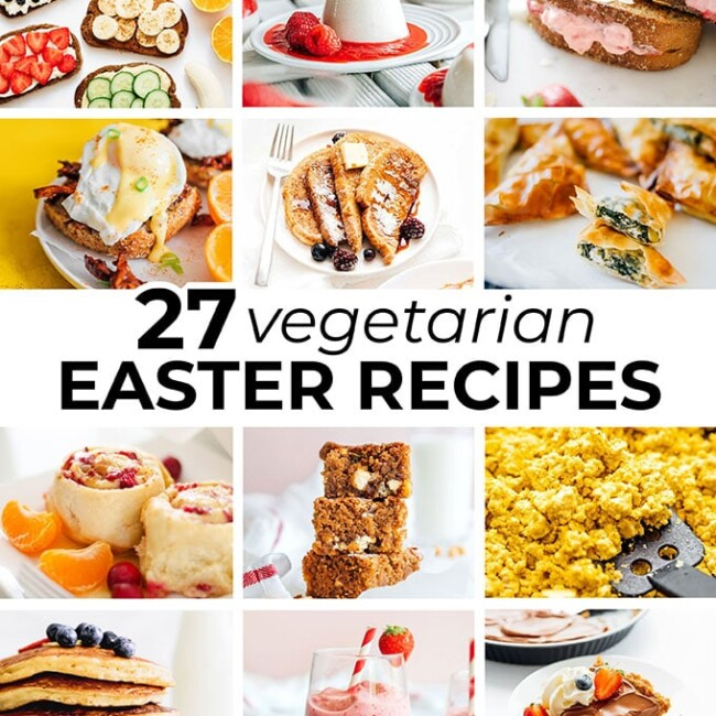 Collage of vegetarian easter recipes
