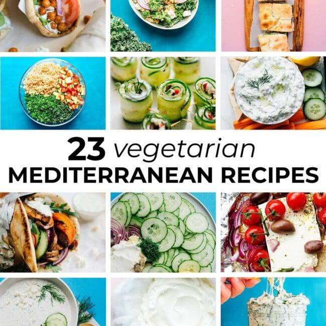 Collage of 23 vegetarian Mediterranean recipes