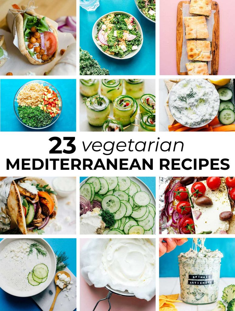 Collage of 23 vegetarian Mediterranean recipes