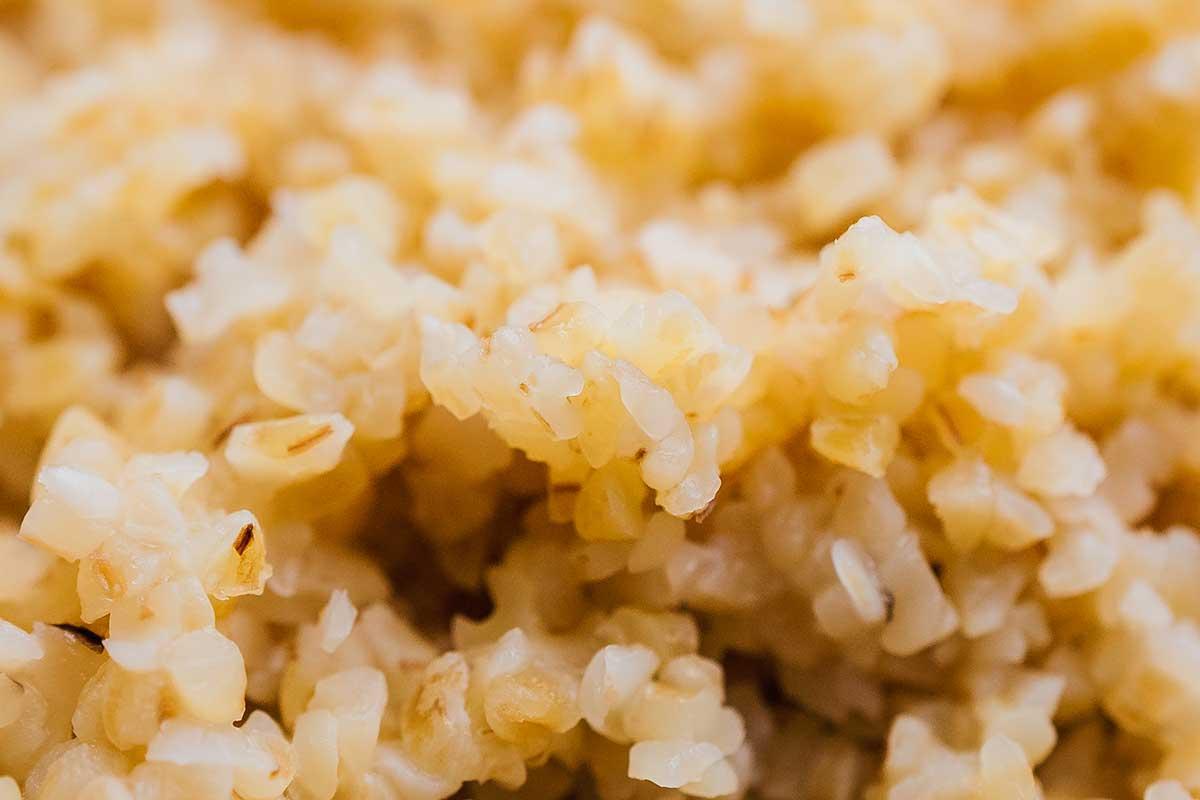 Closeup photo of bulgur grains