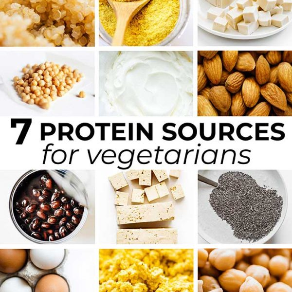 Collage of vegetarian high protein ingredients