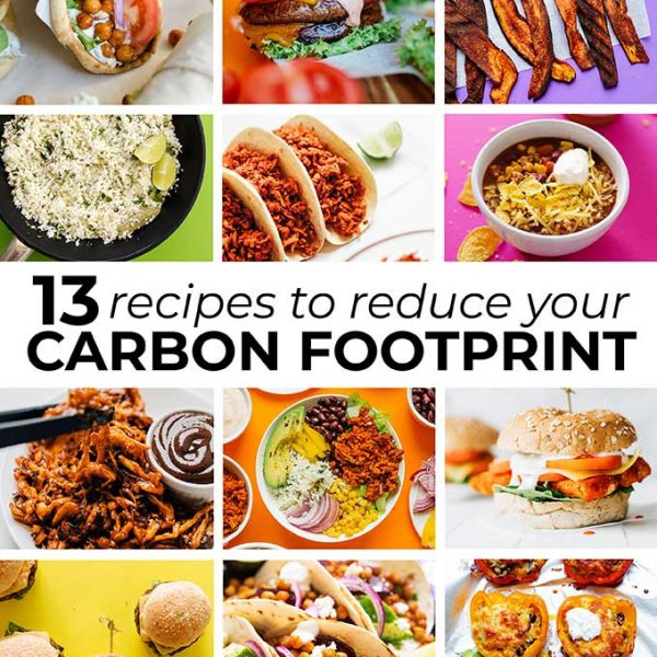 Collage of recipes that reduce carbon footprint