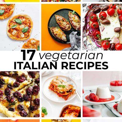 Collage of vegetarian Italian recipes