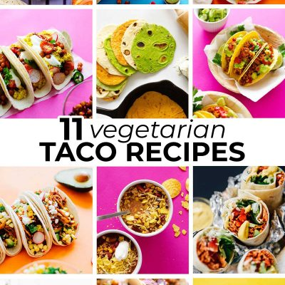 Collage of vegetarian taco recipes