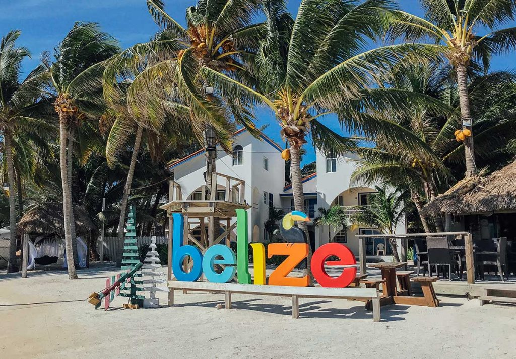 Rainbow belize sign