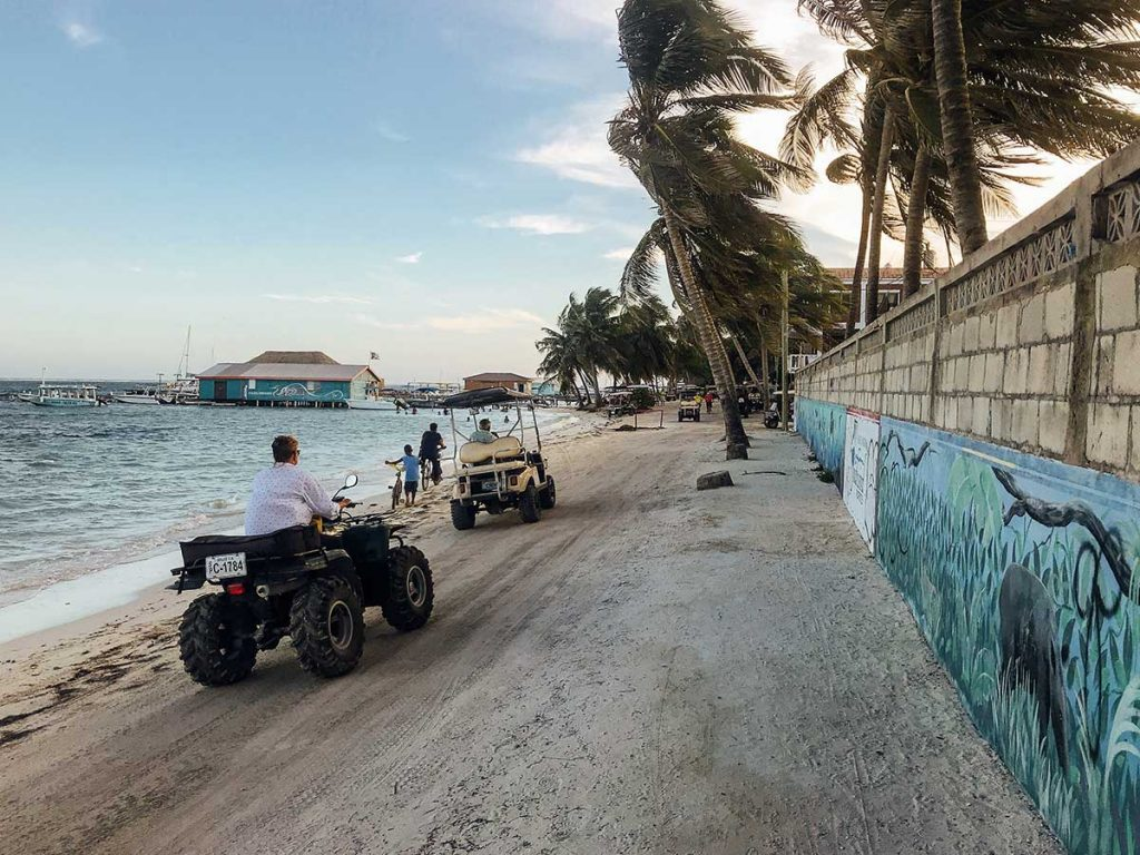 San Pedro Belize with golf carts on beach
