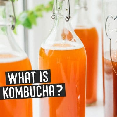 Bottle of kombucha on a counter