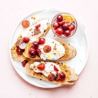 Pickled grapes on burrata and toast