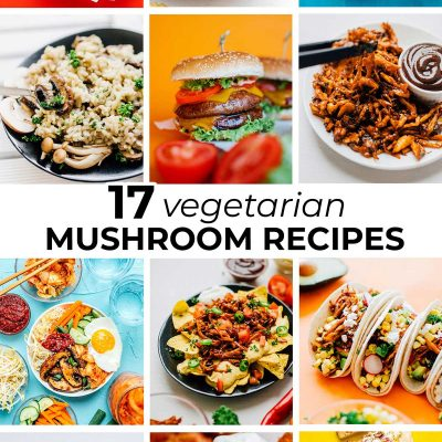 Collage of healthy mushroom recipes