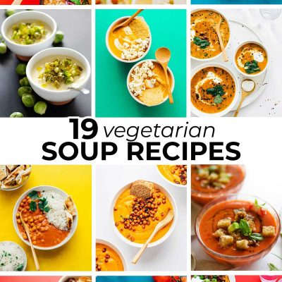 Collage of vegetarian soup recipes