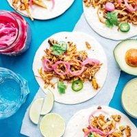 Mushroom carnitas tacos on a blue background