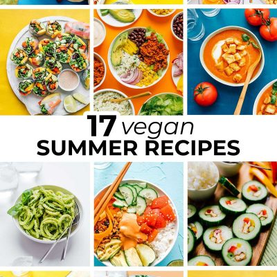 Collage of vegan summer recipes