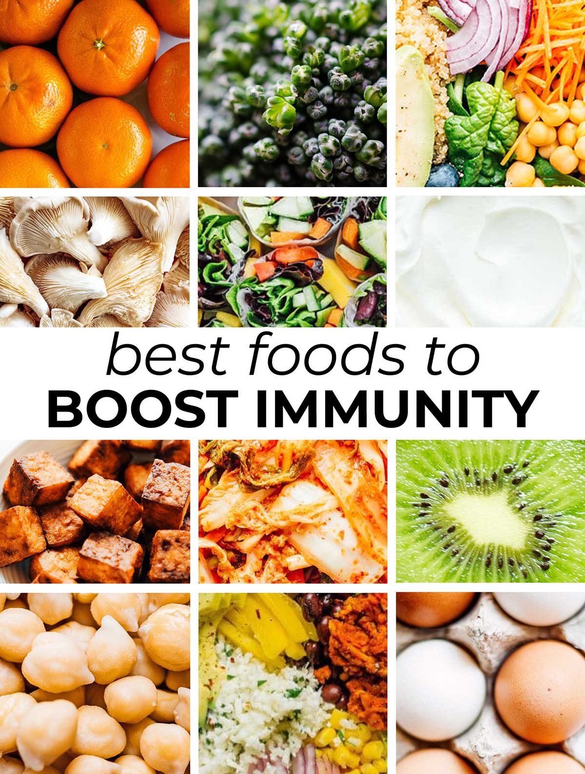 Collage of foods that boost immunity