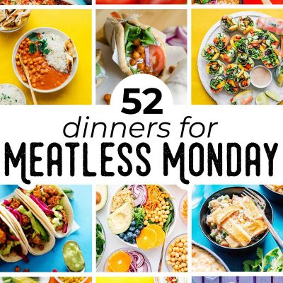 Collage of meatless Monday recipe ideas
