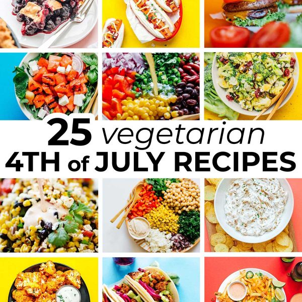 Collage of vegetarian 4th of july recipes