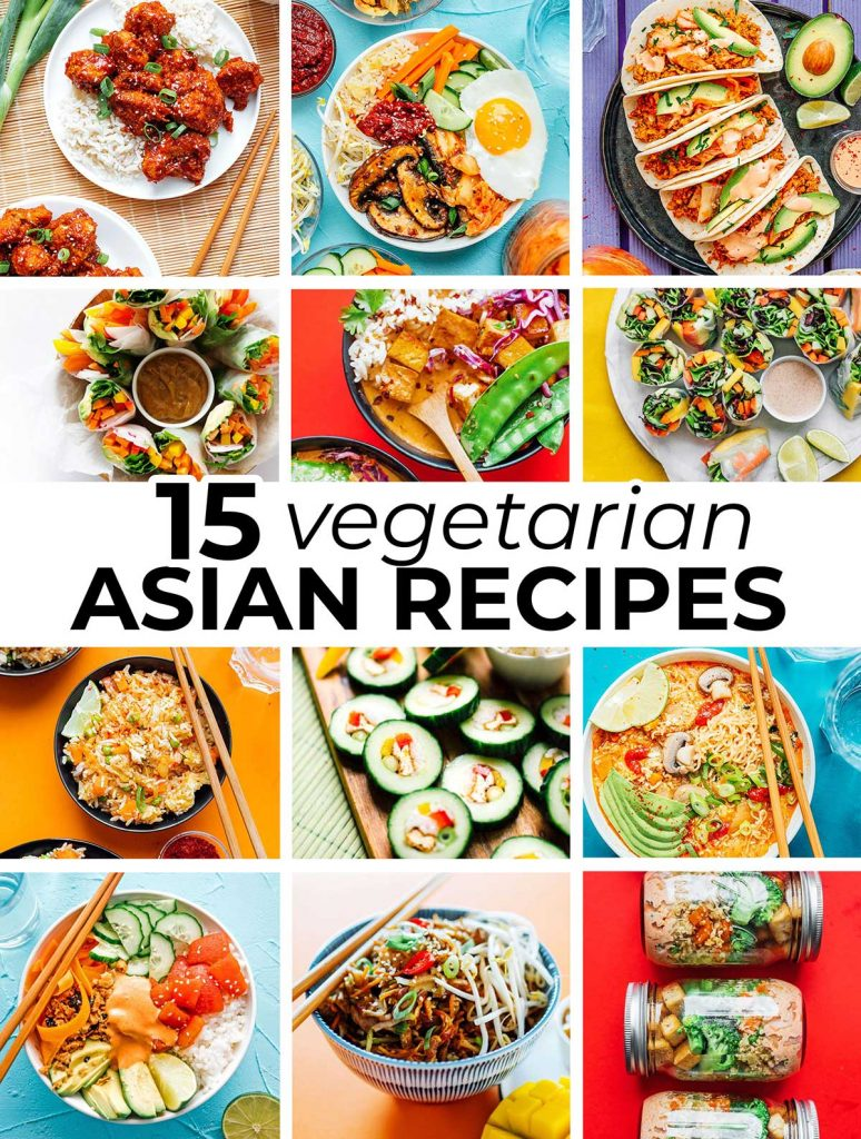 Collage of Asian vegetarian recipes