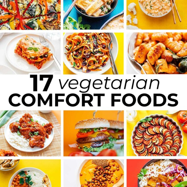 Collage of vegetarian comfort food recipes