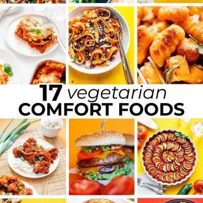 Collage of vegetarian comfort food recipes