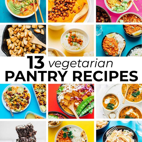 Collage of recipes that can be made with pantry staples