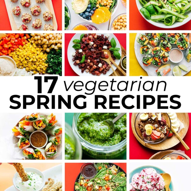 Collage of vegetarian spring recipes