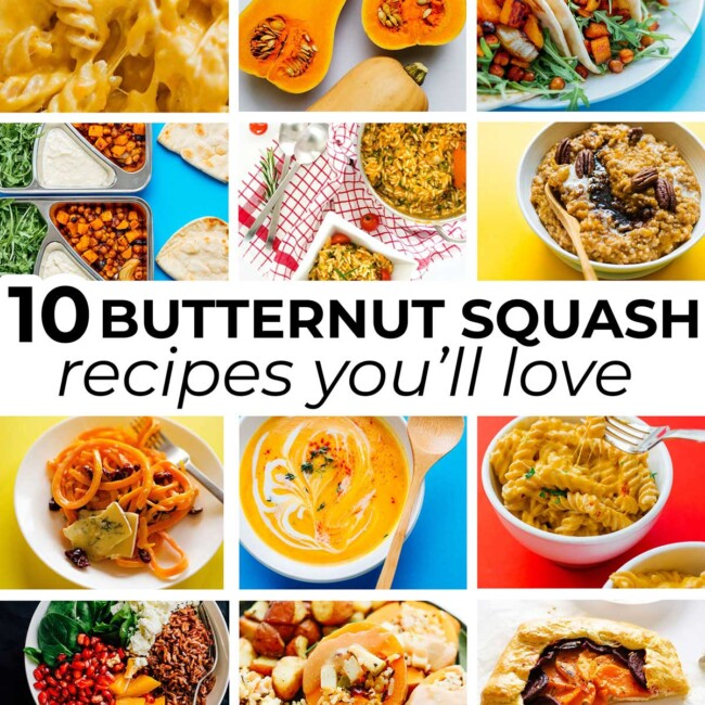 Collage of vegetarian butternut squash recipes