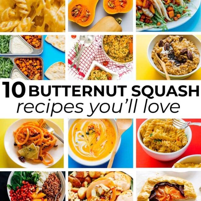Collage of vegetarian butternut squash recipes