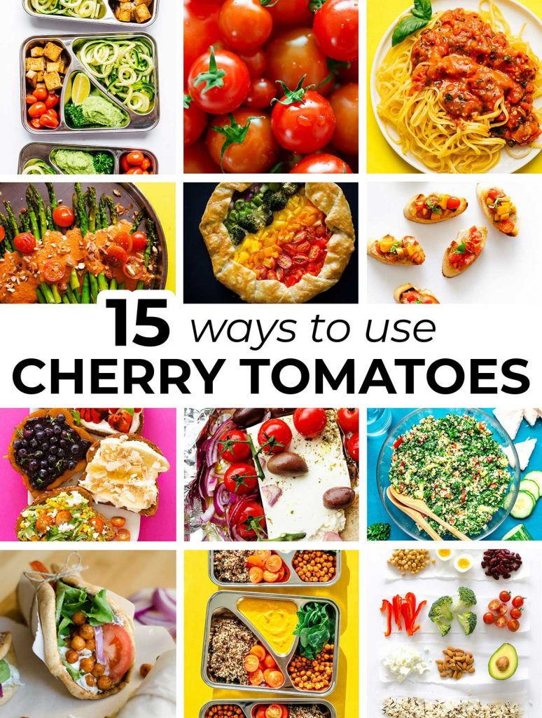 Collage of 12 different meals that include cherry tomatoes