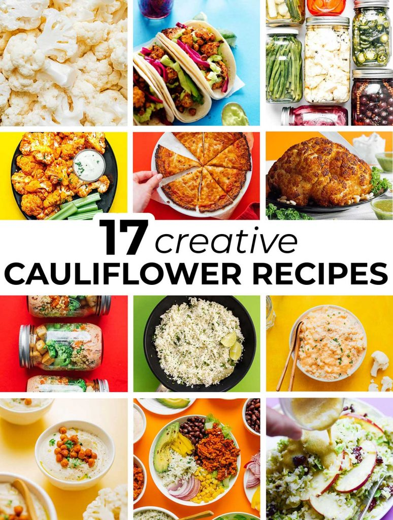 A collage of 12 feature recipe images that all contain cauliflower
