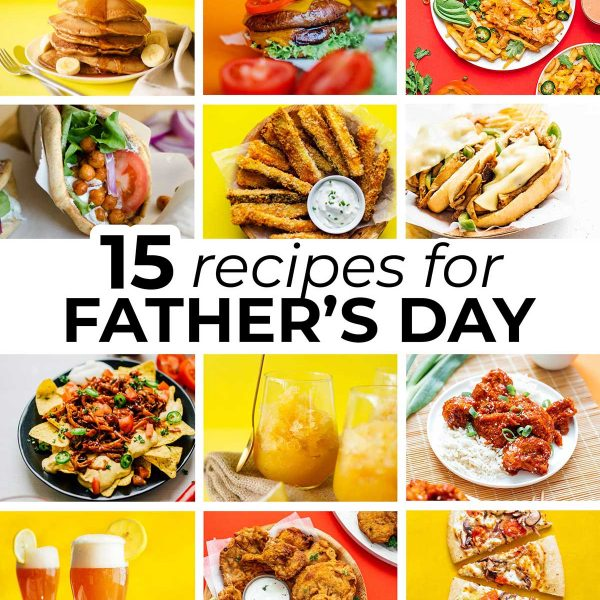 Collage of vegetarian father's day recipes