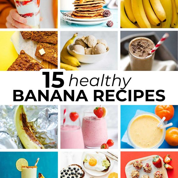 Collage of healthy banana recipes