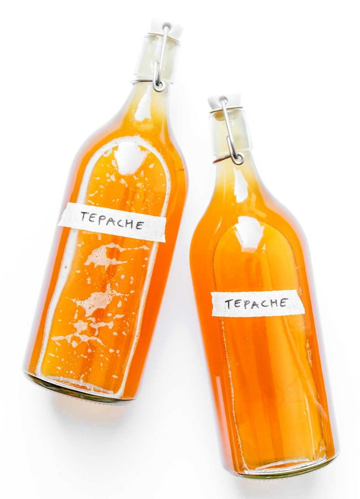 Tepache in second fermentation bottles