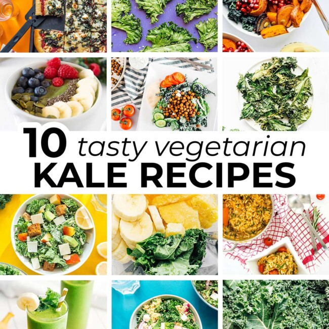 Collage of vegetarian kale recipes