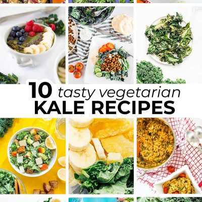 Collage of vegetarian kale recipes