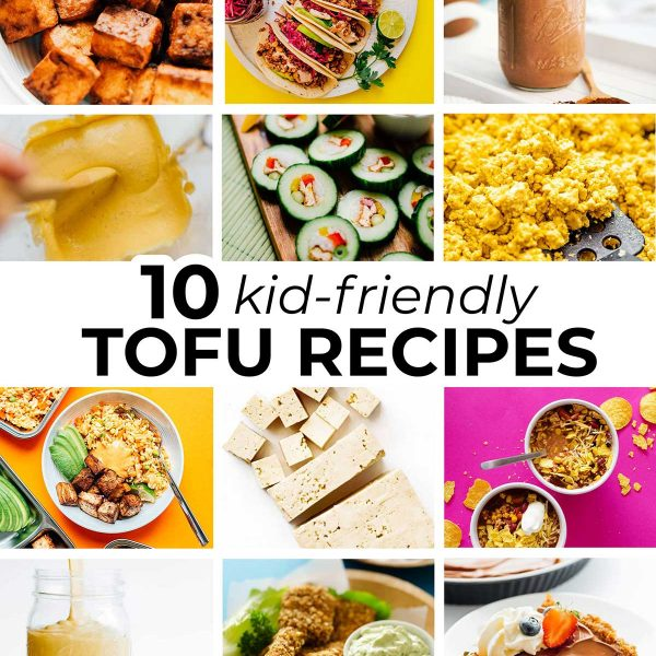 Collage of tofu recipes for kids
