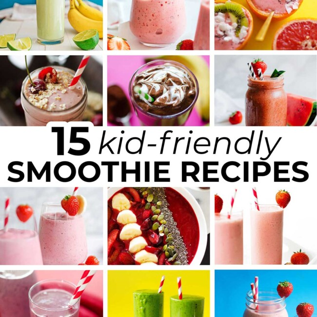 Collage of smoothie recipes for kids