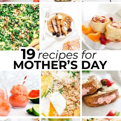 Collage of vegetarian mother's day recipes
