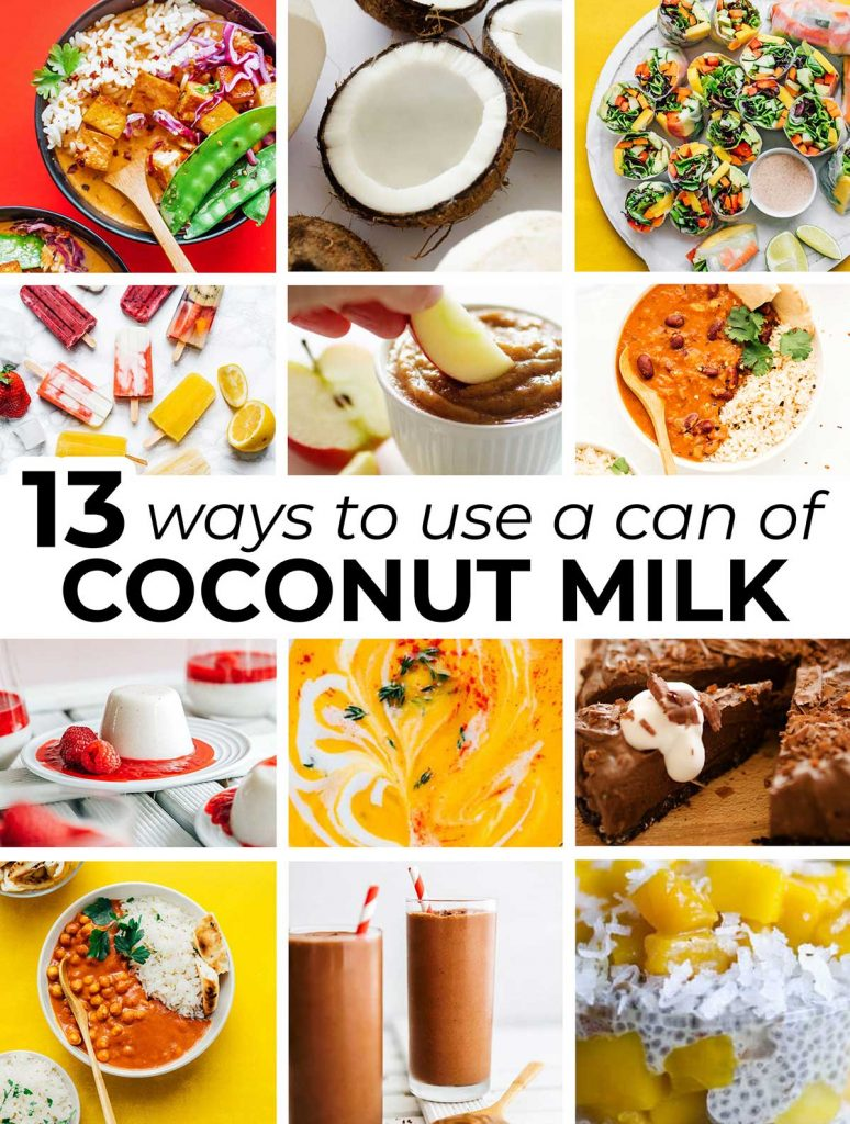 A collage of 12 feature images taken from recipes that include a can of coconut milk