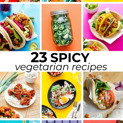 Collage of spicy vegetarian recipes