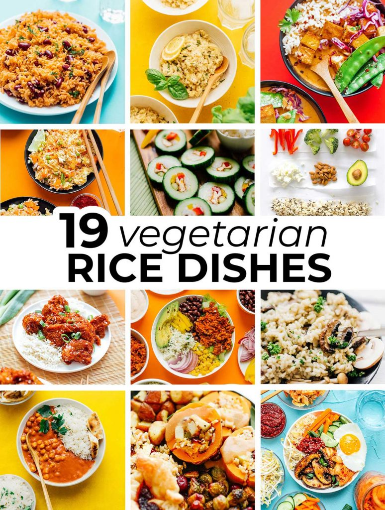 Collage of vegetarian rice recipes