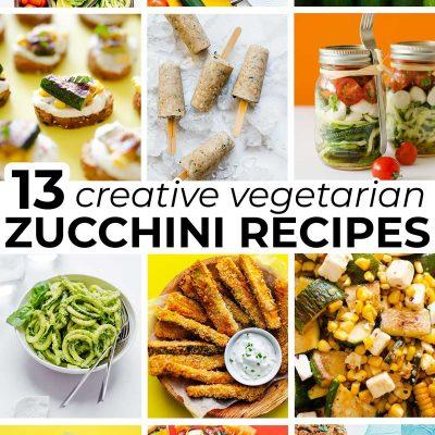 Collage of vegetarian zucchini recipes
