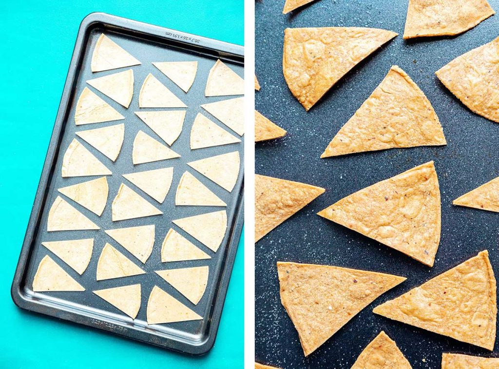 Baked tortilla chips on a baking sheet