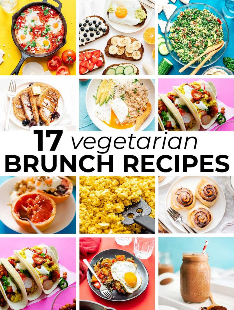12 photo collage of various vegetarian brunch dishes