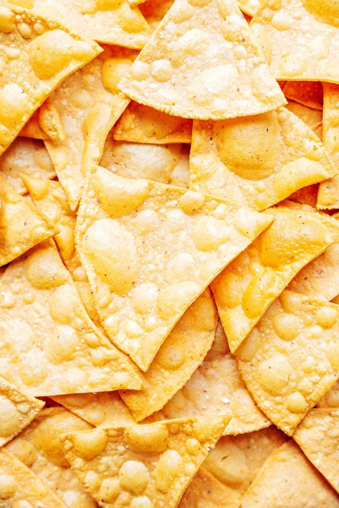 Close up photo of corn tortilla chips